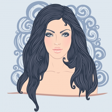 Spa set: vector girl with long hair Stock Vector - 24584023