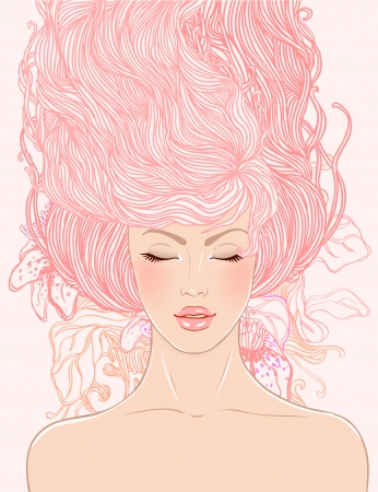 Spa: fashion beautiful woman with long pink hair  Vector