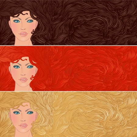 hair beauty: Beauty Salon: Set of banners with portraits of pretty young woman with beautiful hair. Vector illustration