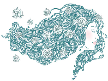 Beauty Salon: Portrait of pretty young woman in profile view with long beautiful hair. Vector illustration  Vector
