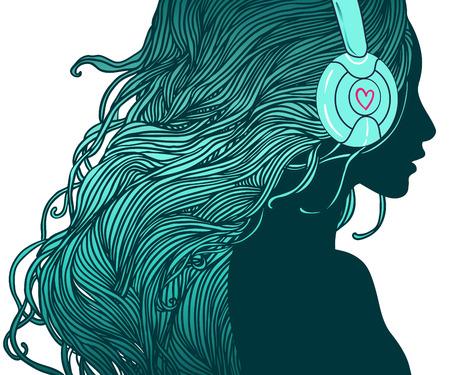 audifonos: DJ girl: Perfil de la muchacha bonita con el pelo largo en los auriculares