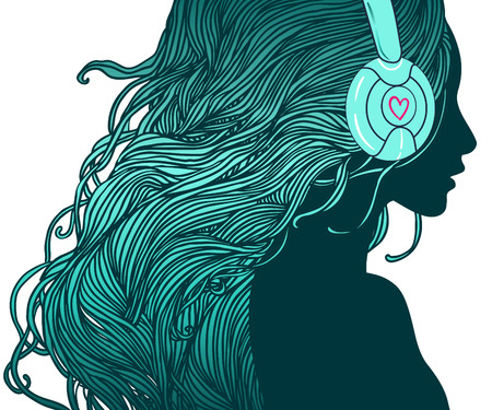 dj headphones: DJ girl: Profile of pretty girl with long hair in headphones