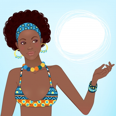 jewelry design: Portrait of beautiful African woman in ornate bikini with earrings and necklace  Illustration