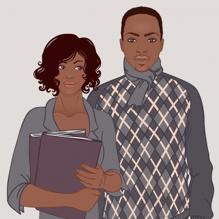 african business: African American couple, business casual style. Vector illustration. Illustration
