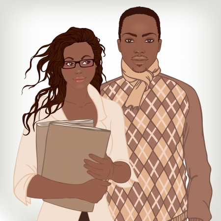 African American couple, business casual style. Vector illustration. Vector