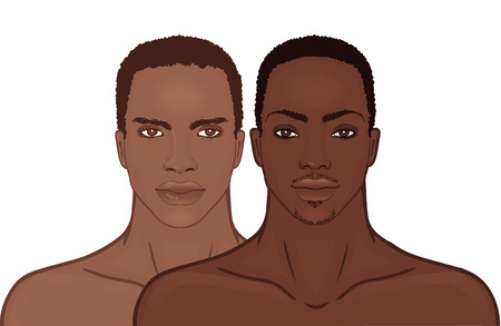 omini bianchi: Faccia Young African American uomo. Vettoriali