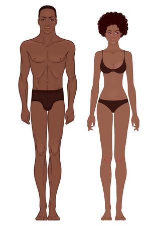 Body templates: Fit Atletisch Gespierd African American paar. Vector illustratie.