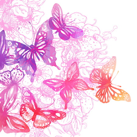 butterfly background: Amazing background with butterflies and flowers painted with watercolors