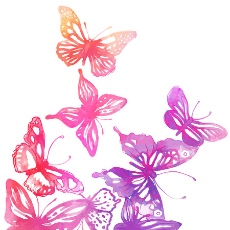 papillon rose: Fond étonnant avec des papillons et des fleurs peintes à l'aquarelle Illustration