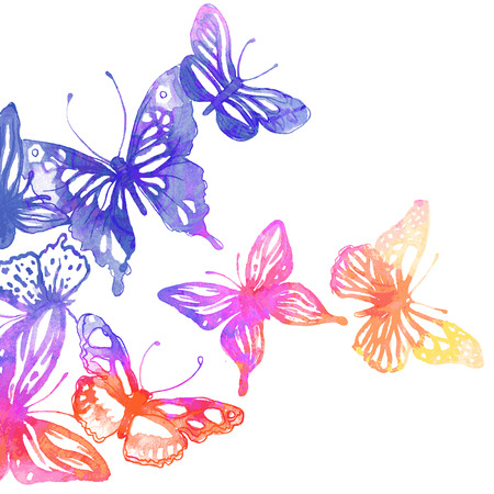 Amazing background with butterflies and flowers painted with watercolors