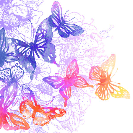 feminine background: Amazing background with butterflies and flowers painted with watercolors