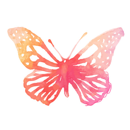 feminine hands: Amazing watercolor butterfly. Vector art isolated on white