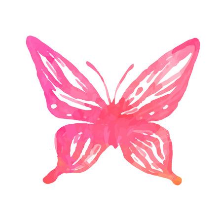 Papillon d'aquarelle. Vecteur art isolé sur blanc Banque d'images - 24584292