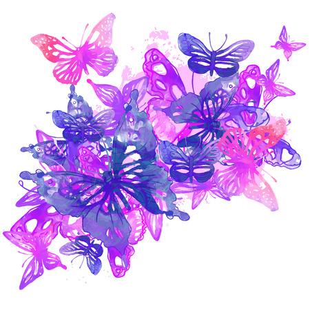 Increíble fondo con mariposas y flores pintadas con acuarelas