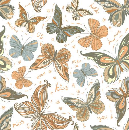 mariposas volando: Increíble fondo con mariposas y flores pintadas con acuarelas. sin patrón.
