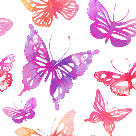 Amazing background with butterflies and flowers painted with watercolors. seamless pattern.  Vector
