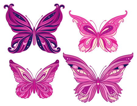 purple butterfly: Paisley butterfly. Hand-Drawn ornate vector illustration design element.