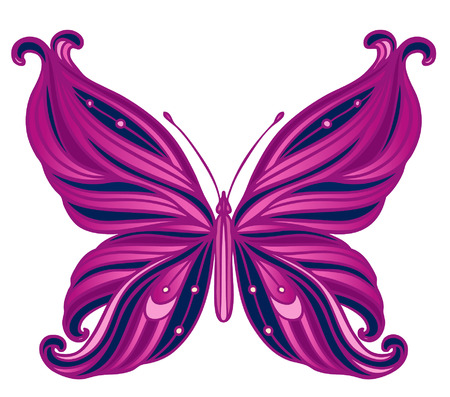 Paisley butterfly. Hand-Drawn ornate vector illustration design element.