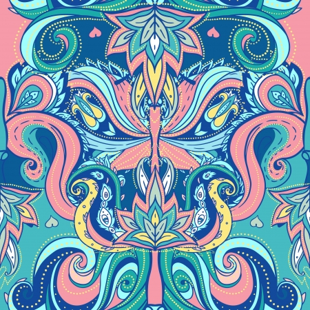 Floral paisley indian vector colorful ornate seamless pattern  Vector