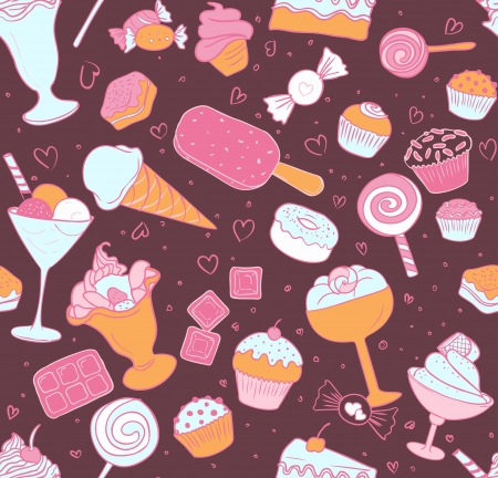 cotton candy: Seamless pattern with candies and sweets on white