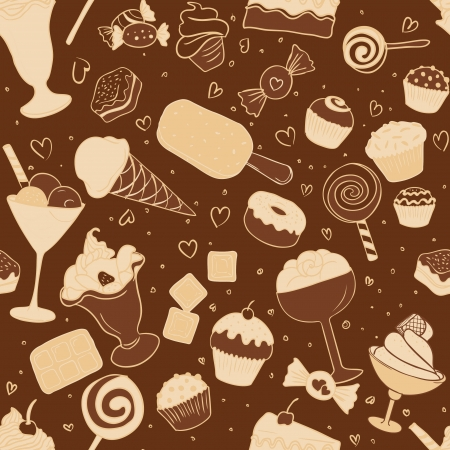 Seamless pattern with chocolate candies and sweets in vector Vector