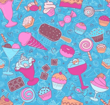 Naadloos patroon met snoepjes en snoep op wit