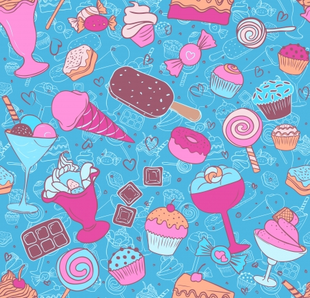 and eat: Seamless pattern with candies and sweets on white