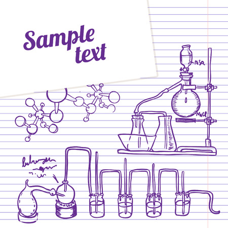 distillate: Science chemistry laboratory vector background (sketchy style)