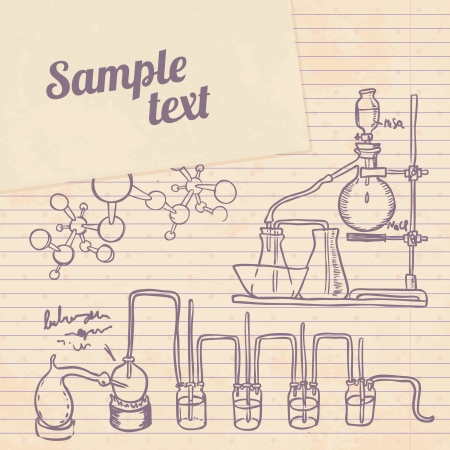 distillation: Old chemistry laboratory vector background in vintage style