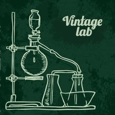 Old chemistry laboratory seamless pattern on dark green school board. Vector background Stock Vector - 24584457