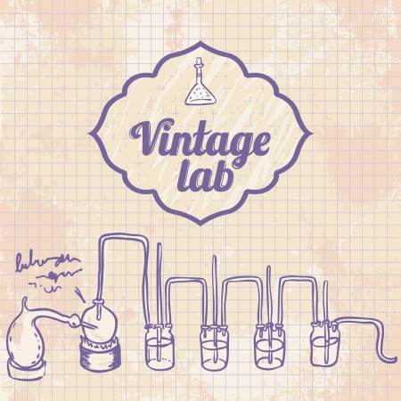 measured: Old chemistry laboratory vector background in vintage style