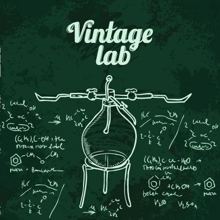 Old chemistry laboratory seamless pattern on dark green school board. Vector background Stock Vector - 24584465