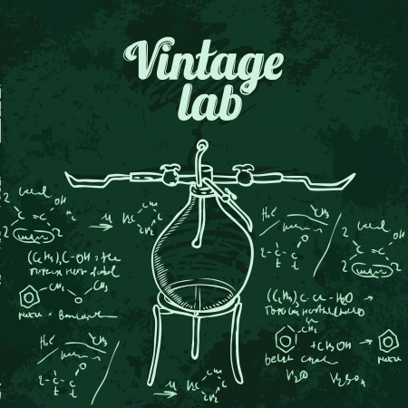 Old chemistry laboratory seamless pattern on dark green school board. Vector background Stock Vector - 24584465