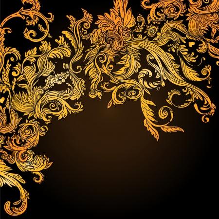 baroque: Fondo de la vendimia marrón modelo barroco, ilustración vectorial