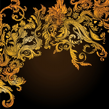 Vintage background brown baroque pattern, vector illustration Illusztráció