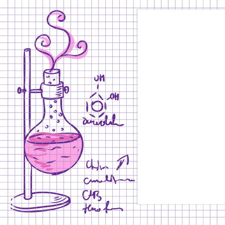 glassware: Science chemistry laboratory vector background (sketchy style)