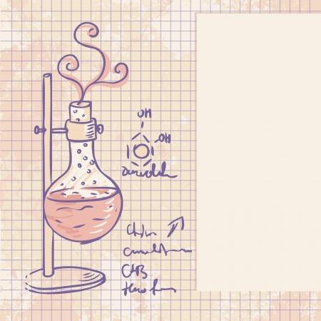 destilacion: Antiguo laboratorio de química de vectores de fondo en el estilo vintage