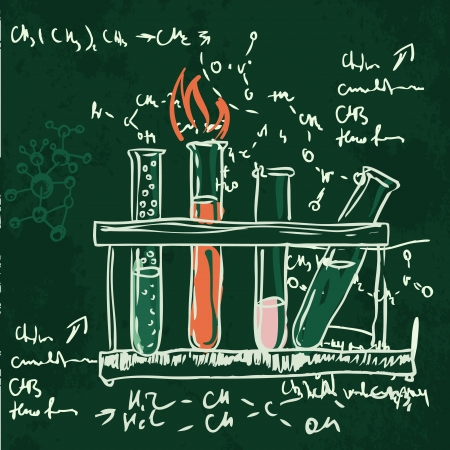 laboratory equipment: Old chemistry laboratory seamless pattern on dark green school board. Vector background