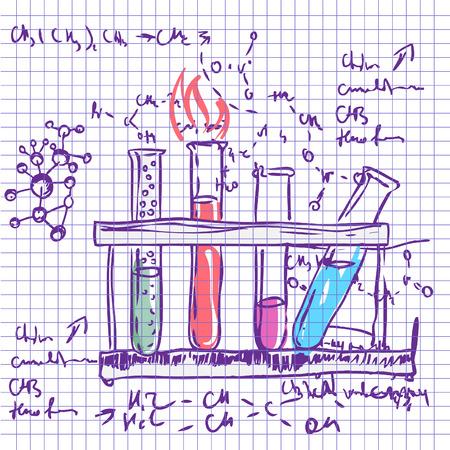 evaporacion: Química Ciencia laboratorio vector de fondo (estilo incompleto) Vectores