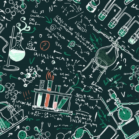 Old chemistry laboratory seamless pattern on dark green school board. Vector background Vector