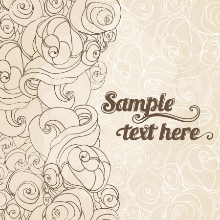 Vector abstract hand-drawn patterned background  with waves and clouds