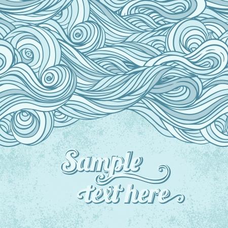 papel tapiz turquesa: Mano abstracto azul dibujado patrón, olas de fondo