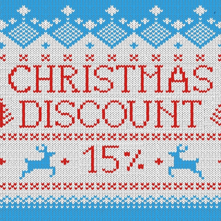 Christmas Sale: Discount 15% (Scandinavian style seamless knitted pattern with deers) Vector
