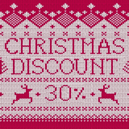 Christmas Sale: Discount 30% (Scandinavian style seamless knitted pattern) Vector