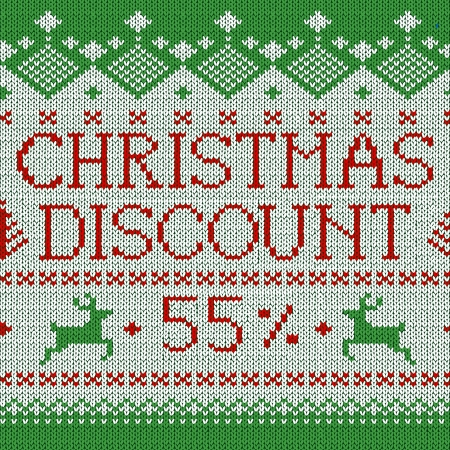 Christmas Sale: Discount 55% (Scandinavian style seamless knitted pattern with deers) Vector