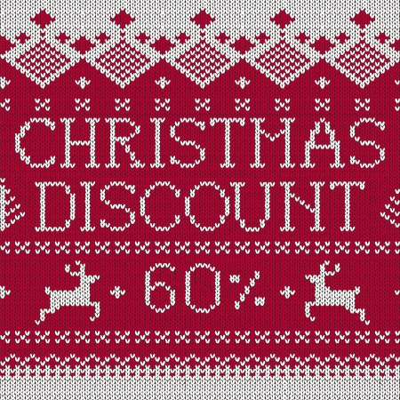 Christmas Sale: Discount 60% (Scandinavian style seamless knitted pattern with deers) Vector