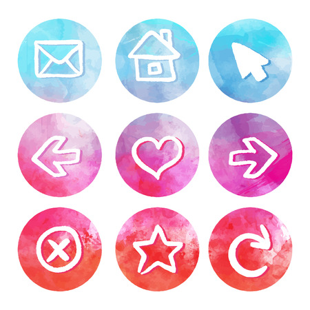 Purple and blue set of round watercolor icons, vector illustrations  Vector