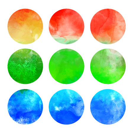 Watercolor hand painted circle shape design elements (vector illustration) Stock Vector - 24584762