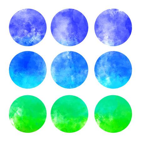 other keywords: Watercolor hand painted circle shape design elements (vector illustration) Illustration