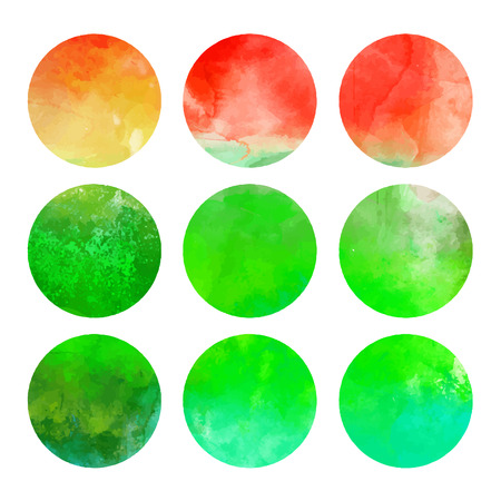 Watercolor hand painted circle shape design elements (vector illustration) Stock Vector - 24584765